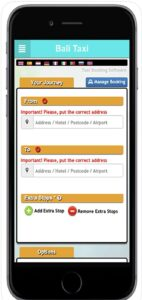 Bali Taxi Booking in Mobile App